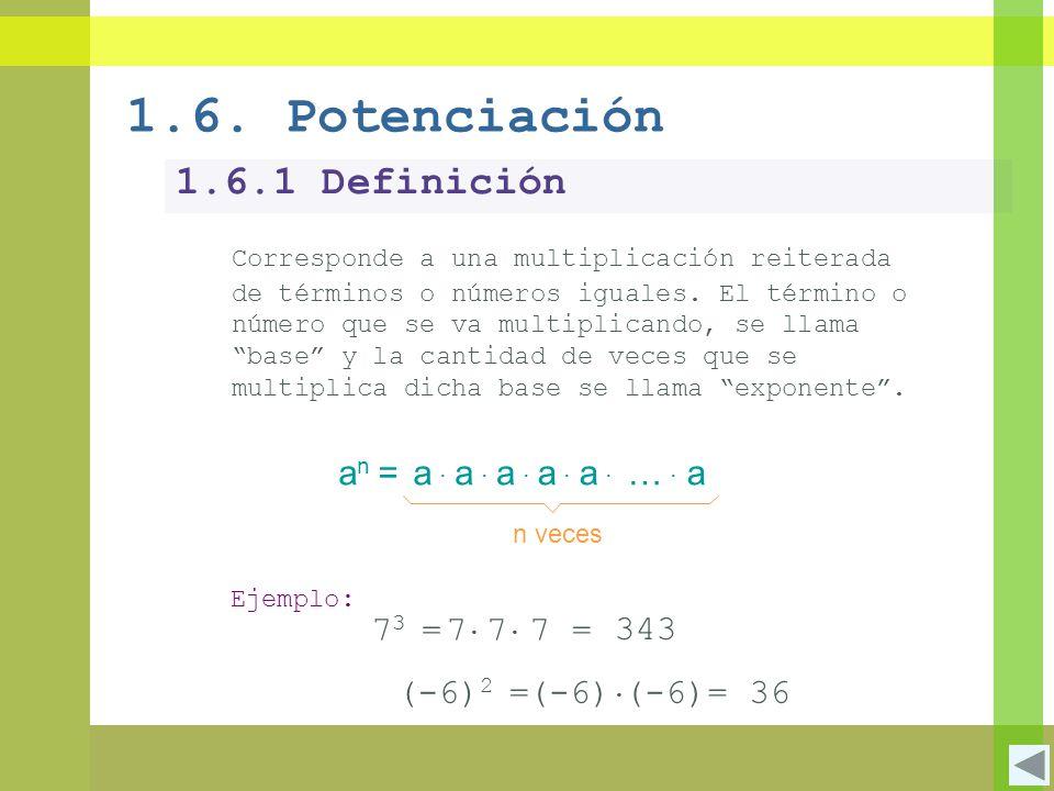 1.6. Potenciación 1.6.1 Definición