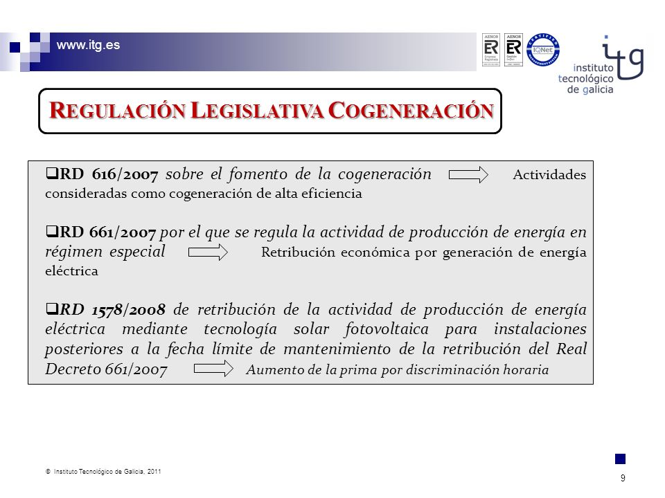 Regulación Legislativa Cogeneración