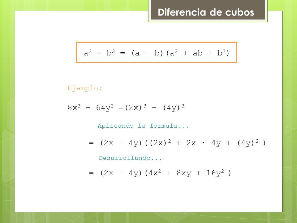 Diferencia de cubos a3 – b3 = (a – b)(a2 + ab + b2) 8x3 – 64y3 =