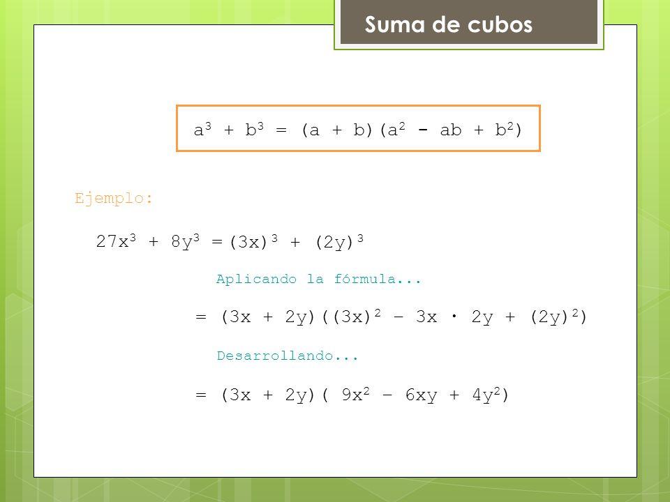 Suma de cubos a3 + b3 = (a + b)(a2 - ab + b2) 27x3 + 8y3 =