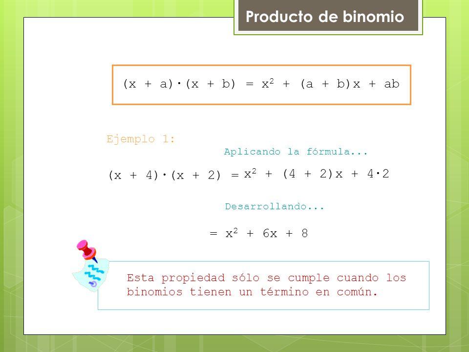 Producto de binomio (x + a)∙(x + b) = x2 + (a + b)x + ab
