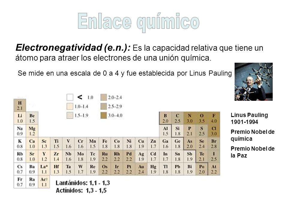 Enlace químico Electronegatividad (e.n.): Es la capacidad relativa que tiene un átomo para atraer los electrones de una unión química.
