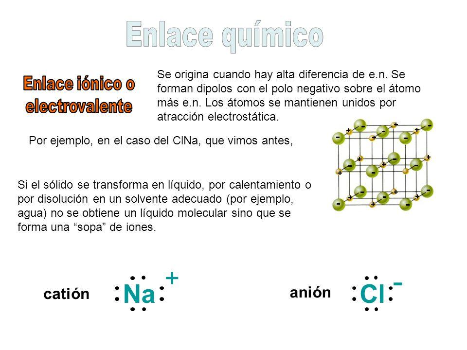- Na + Cl Enlace químico catión anión Enlace iónico o electrovalente