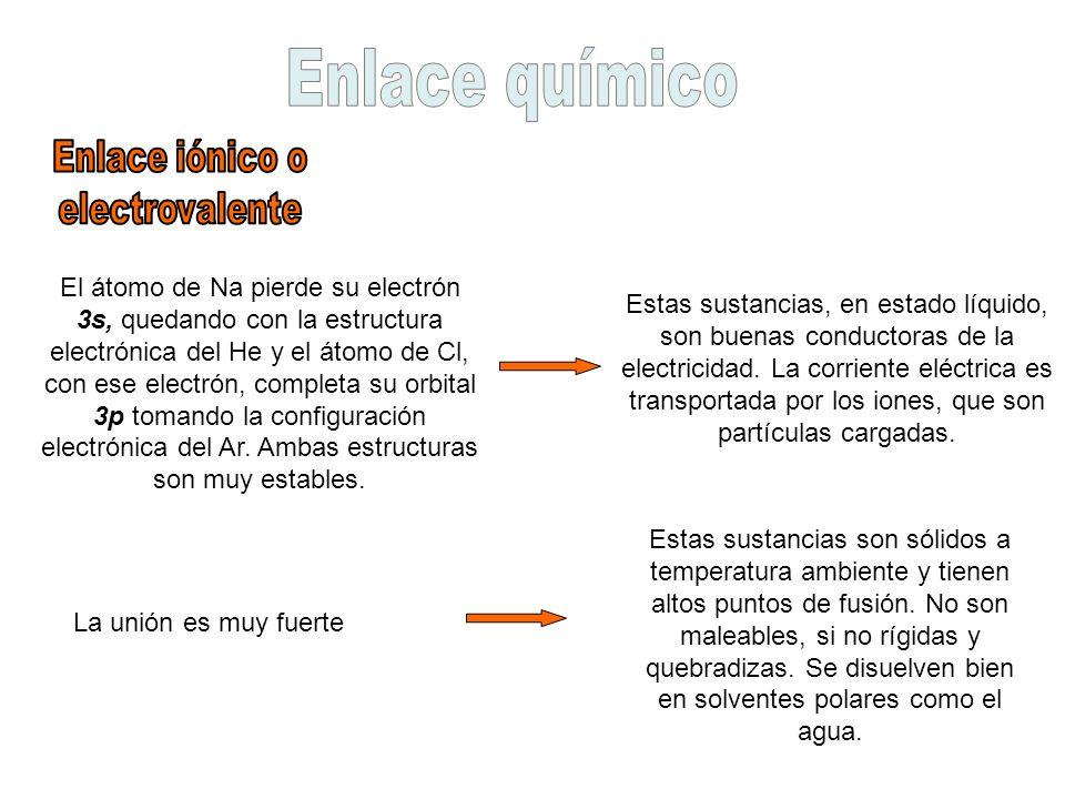 Enlace químico Enlace iónico o electrovalente