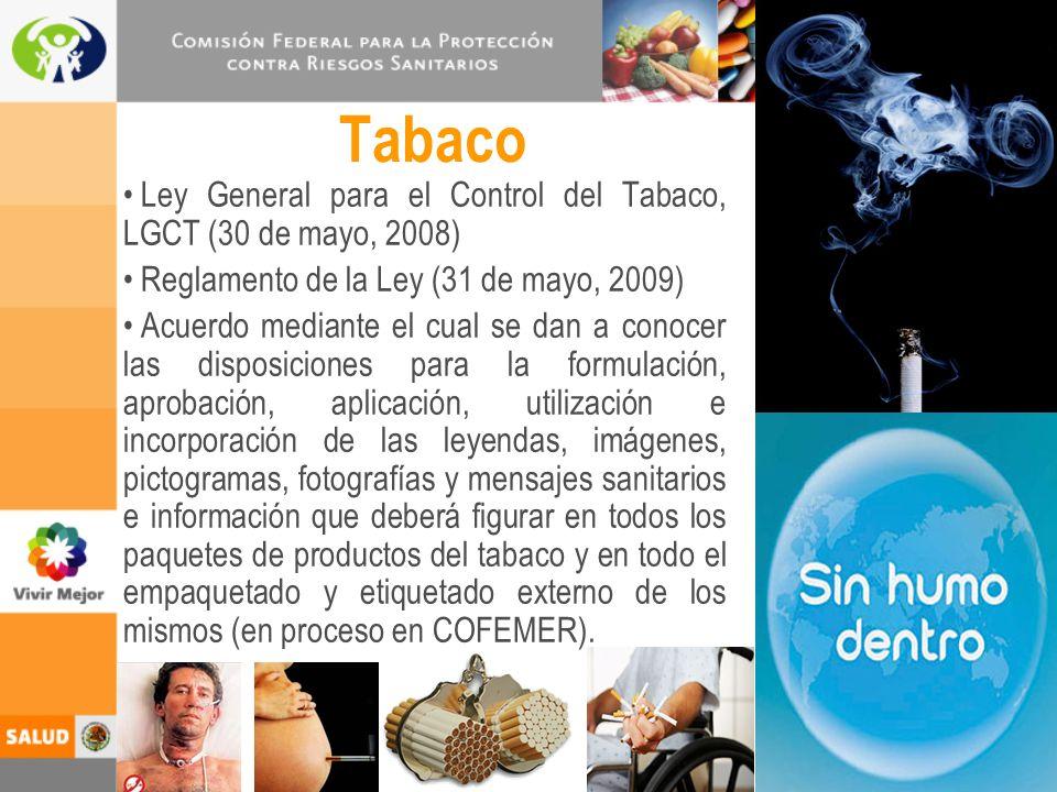 Tabaco Ley General para el Control del Tabaco, LGCT (30 de mayo, 2008)