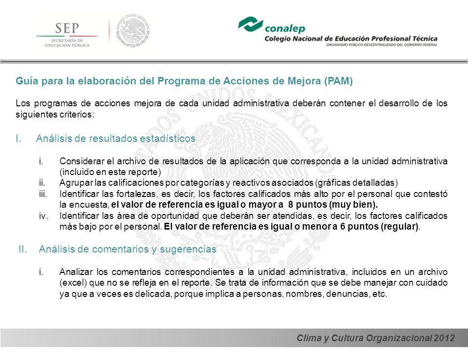 Guía para la elaboración del Programa de Acciones de Mejora (PAM)