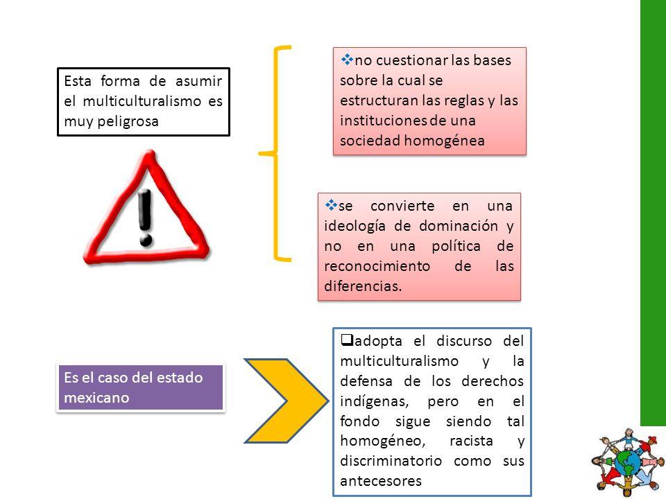 no cuestionar las bases sobre la cual se estructuran las reglas y las instituciones de una sociedad homogénea