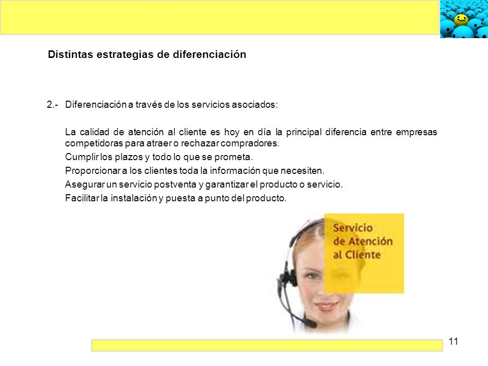 Distintas estrategias de diferenciación