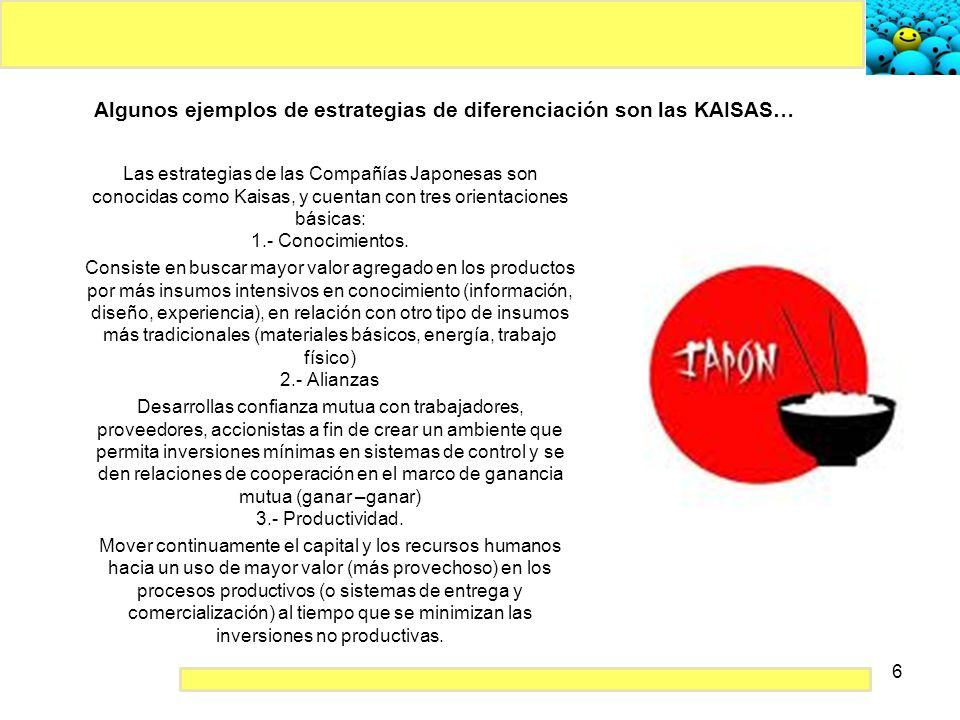Algunos ejemplos de estrategias de diferenciación son las KAISAS…