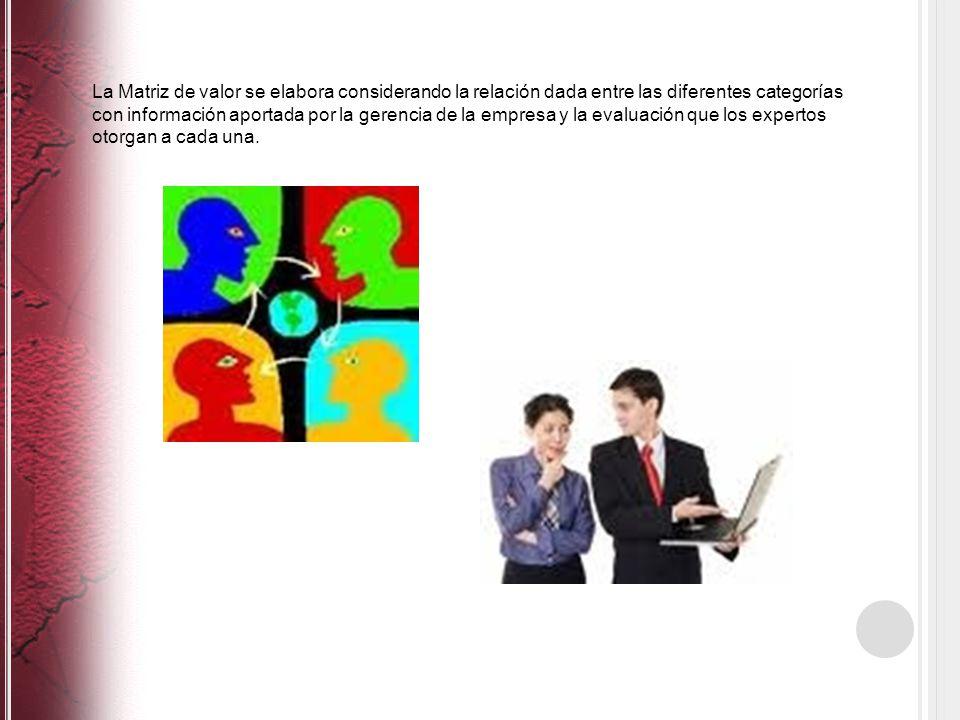 La Matriz de valor se elabora considerando la relación dada entre las diferentes categorías con información aportada por la gerencia de la empresa y la evaluación que los expertos otorgan a cada una.