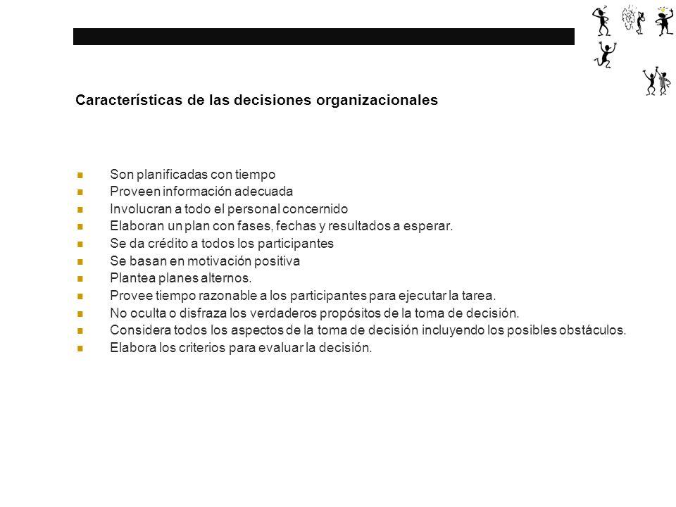 Características de las decisiones organizacionales