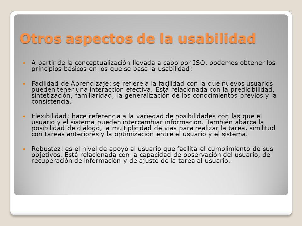 Otros aspectos de la usabilidad