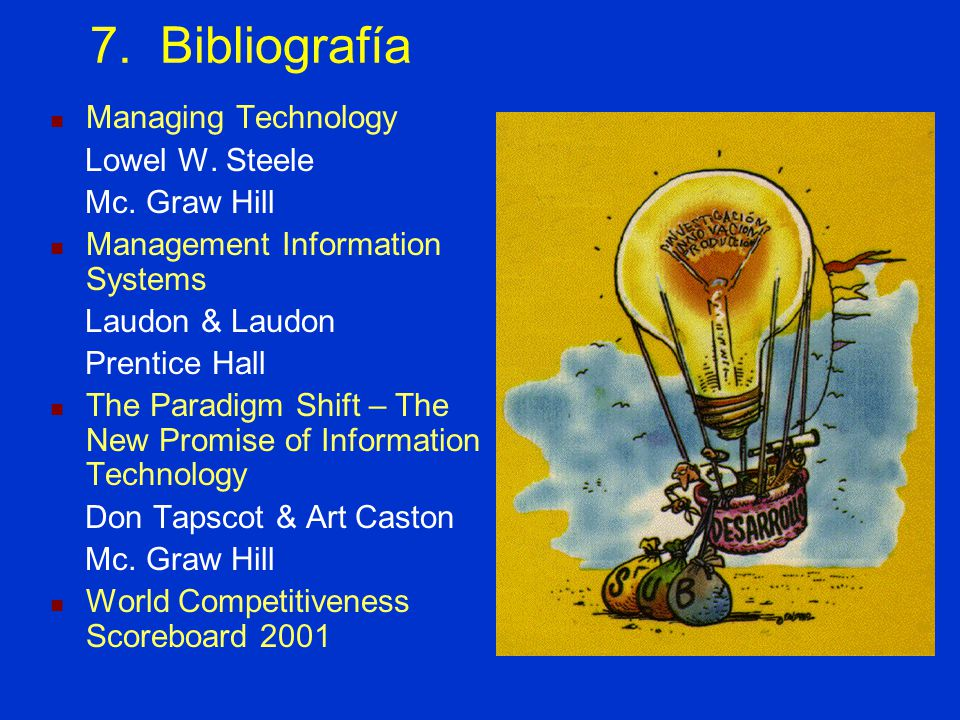 7. Bibliografía Managing Technology Lowel W. Steele Mc. Graw Hill