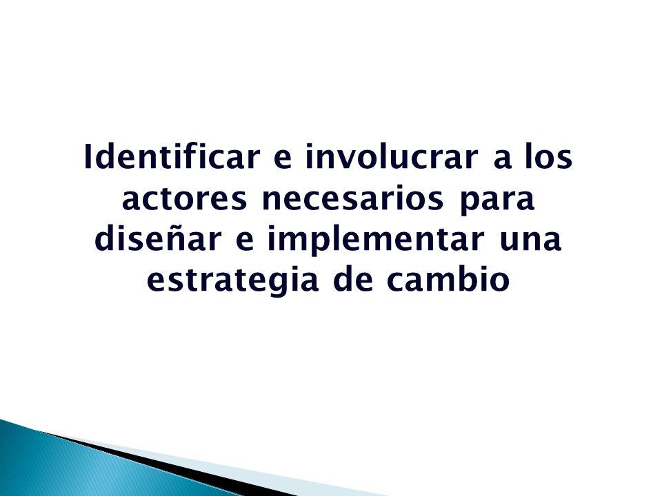 Identificar e involucrar a los actores necesarios para diseñar e implementar una estrategia de cambio