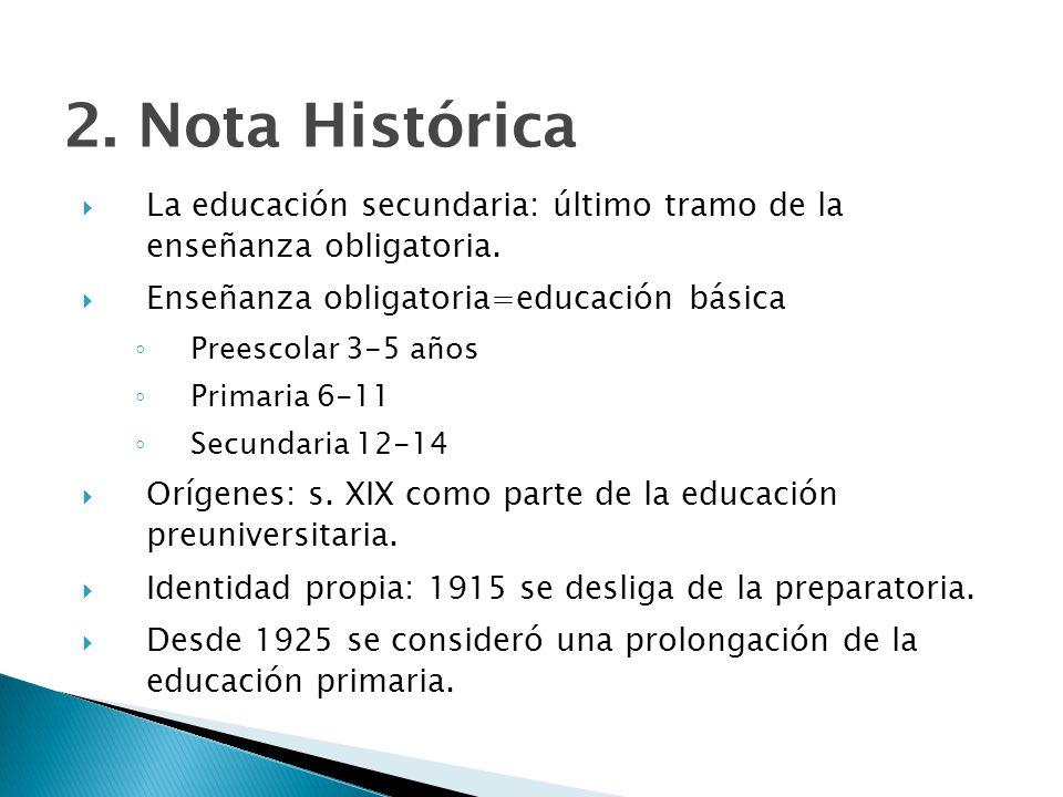 2. Nota Histórica La educación secundaria: último tramo de la enseñanza obligatoria. Enseñanza obligatoria=educación básica.