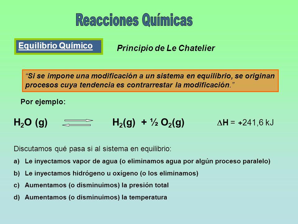 Reacciones Químicas H2O (g) H2(g) + ½ O2(g) DH = +241,6 kJ