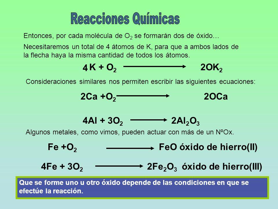 Reacciones Químicas 4 K + O2 2OK2 2Ca +O2 2OCa 4Al + 3O2 2Al2O3