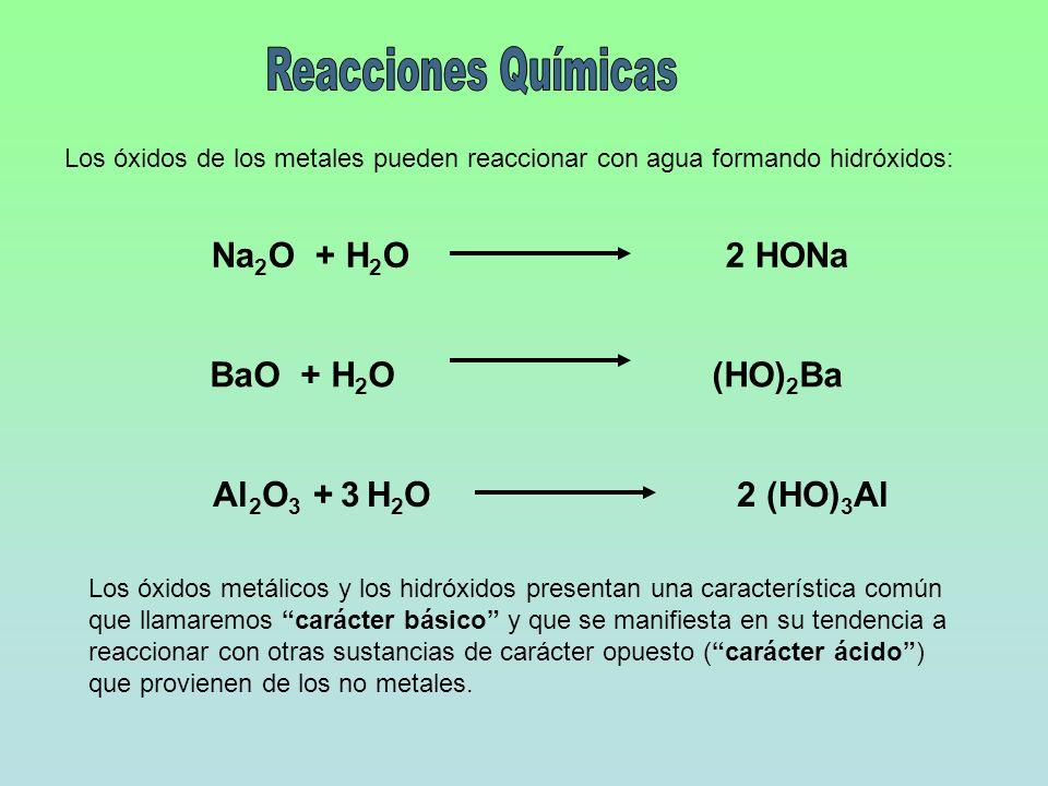 Reacciones Químicas Na2O + H2O 2 HONa Al2O3 + 3 H2O 2 (HO)3Al