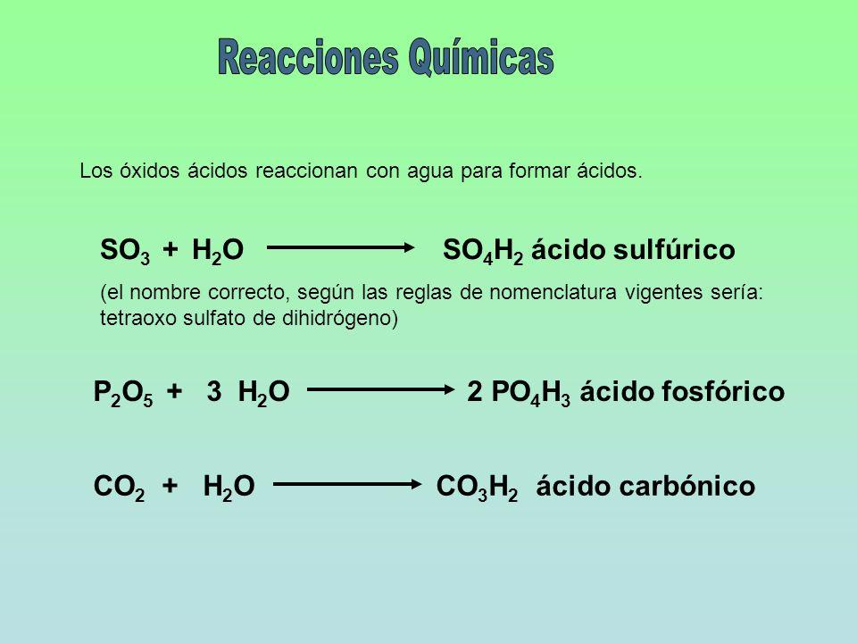 Reacciones Químicas SO3 + H2O SO4H2 ácido sulfúrico