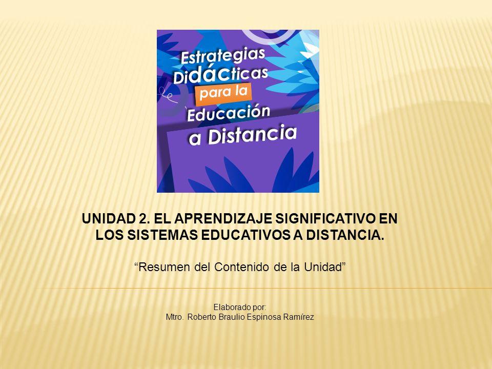 UNIDAD 2. EL APRENDIZAJE SIGNIFICATIVO EN LOS SISTEMAS EDUCATIVOS A DISTANCIA.