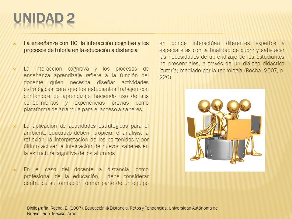 UNIDAD 2 La enseñanza con TIC, la interacción cognitiva y los procesos de tutoría en la educación a distancia.