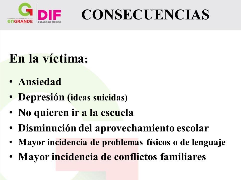 CONSECUENCIAS En la víctima: Ansiedad Depresión (ideas suicidas)