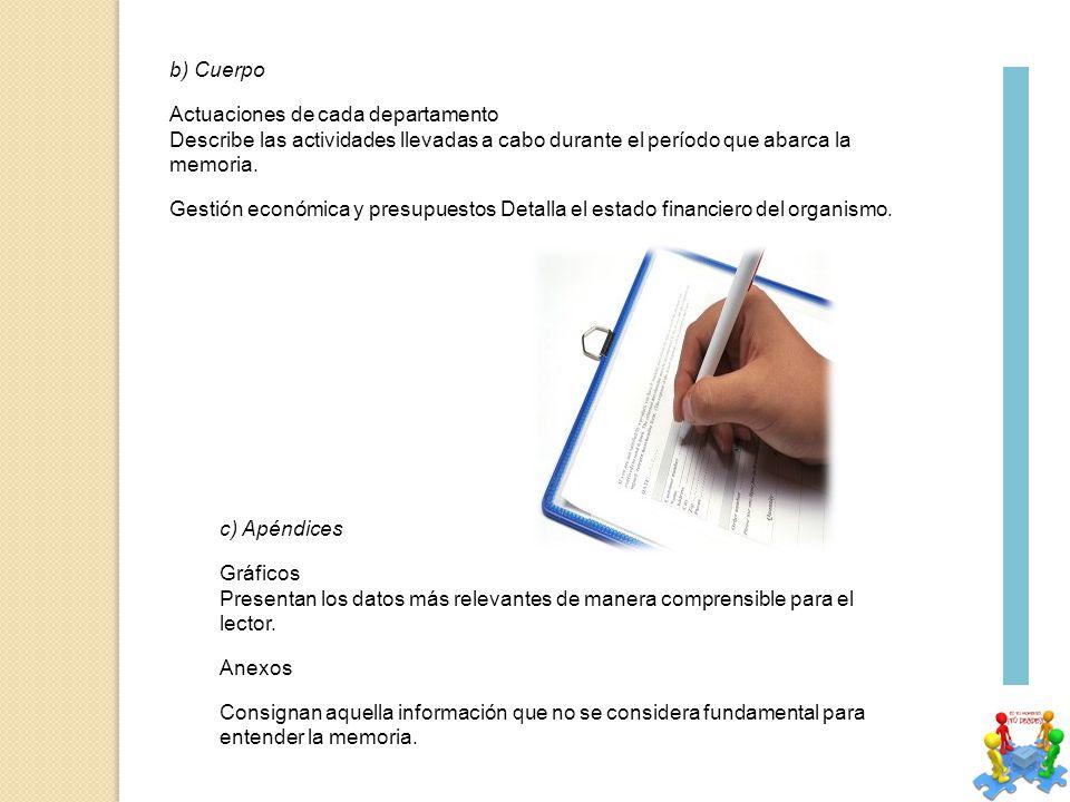 b) Cuerpo Actuaciones de cada departamento. Describe las actividades llevadas a cabo durante el período que abarca la memoria.