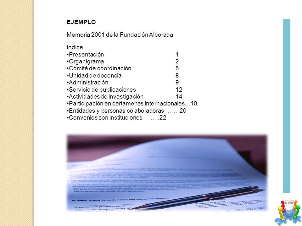 EJEMPLO Memoria 2001 de la Fundación Alborada. índice. Presentación 1. Organigrama 2. Comité de coordinación 5.