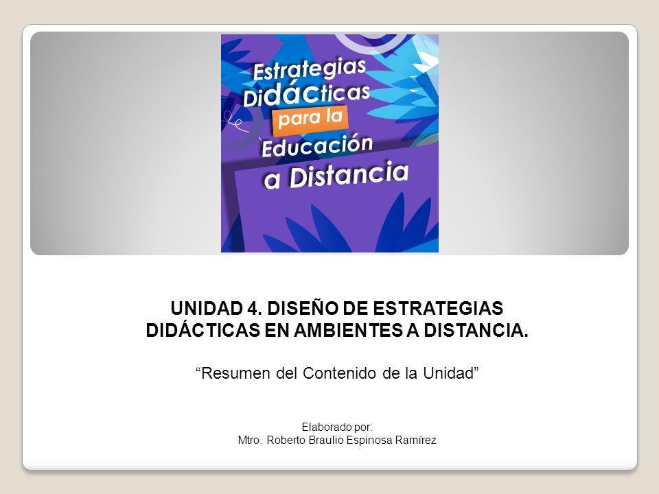 UNIDAD 4. DISEÑO DE ESTRATEGIAS DIDÁCTICAS EN AMBIENTES A DISTANCIA.