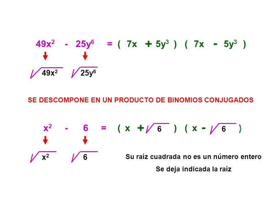 + - - + 49x2 - 25y6 = ( 7x 5y3 ) ( 7x 5y3 ) x2 - 6 = ( x ) ( x ) 49x2