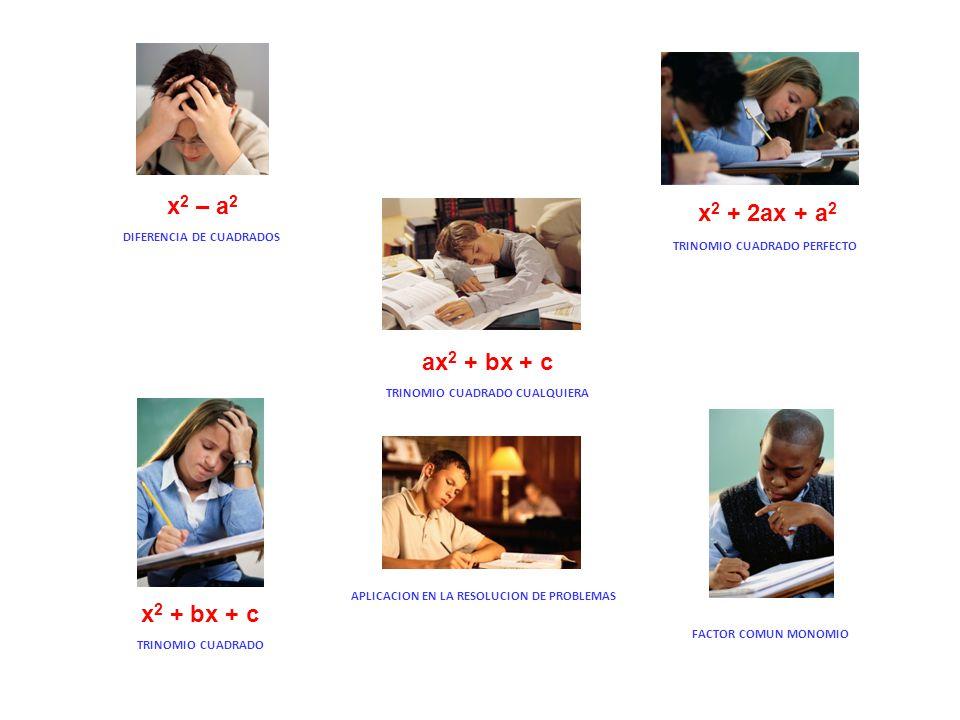 x2 – a2 x2 + 2ax + a2 ax2 + bx + c x2 + bx + c