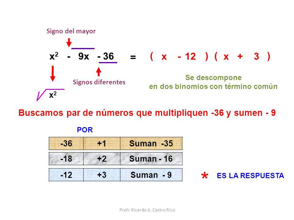 Signo del mayor x2. - 9x. - 36. = ( x. - 12. ) ( x. + 3. ) Se descompone. en dos binomios con término común.
