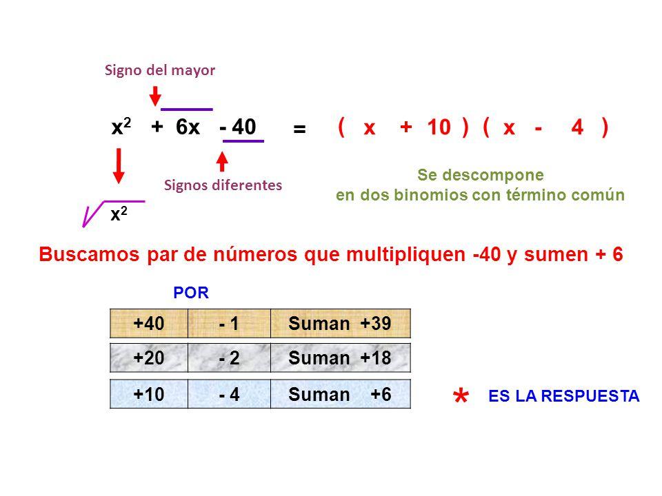 Signo del mayor x2. + 6x. - 40. = ( x. + 10. ) ( x. - 4. ) Se descompone. en dos binomios con término común.
