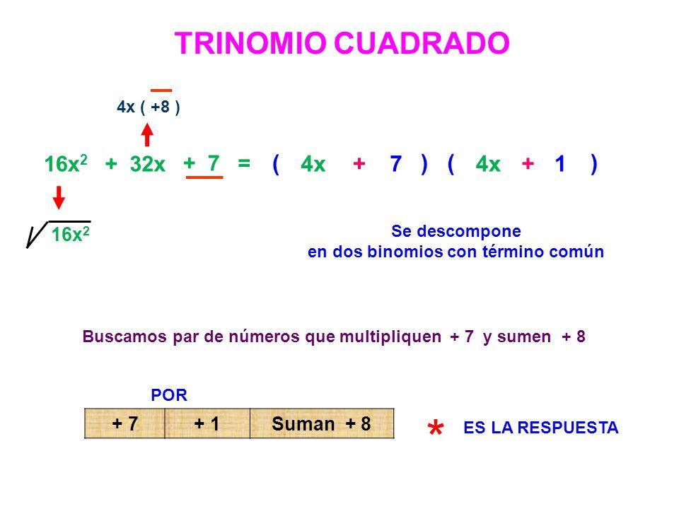 * TRINOMIO CUADRADO ( ( 4x + 7 ) 4x + 1 ) 16x2 + 32x + 7 = 16x2 + 7