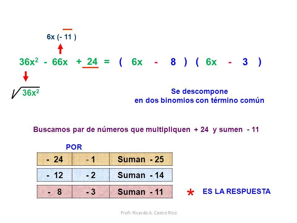 * ( ( 6x - 8 ) 6x - 3 ) 36x2 - 66x + 24 = 36x2 - 24 1 Suman - 25 - 12