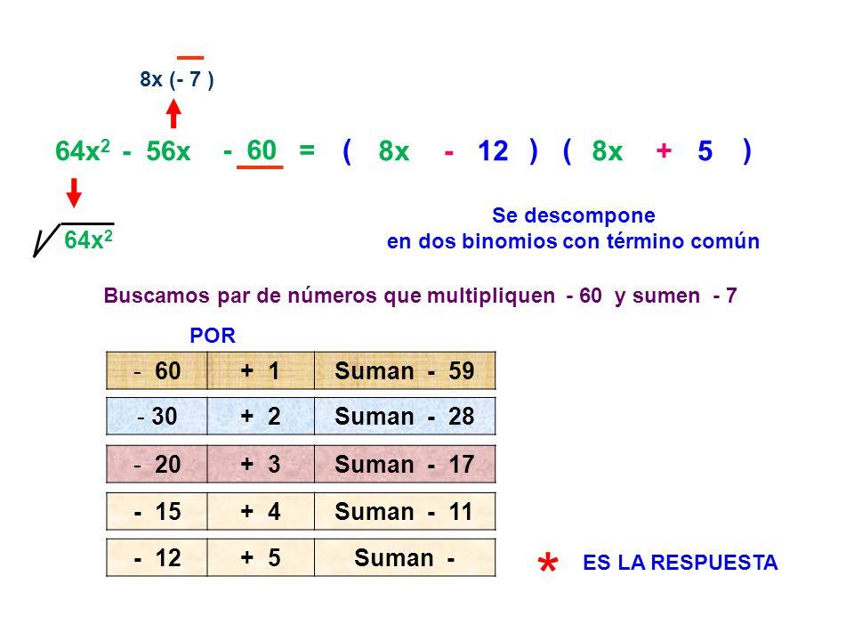 * ( ( 8x - 12 ) 8x + 5 ) 64x2 - 56x - 60 = 64x2 60 + 1 Suman - 59 30