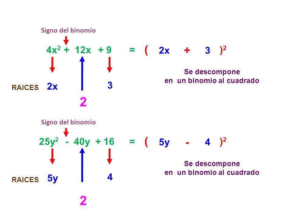 en un binomio al cuadrado en un binomio al cuadrado