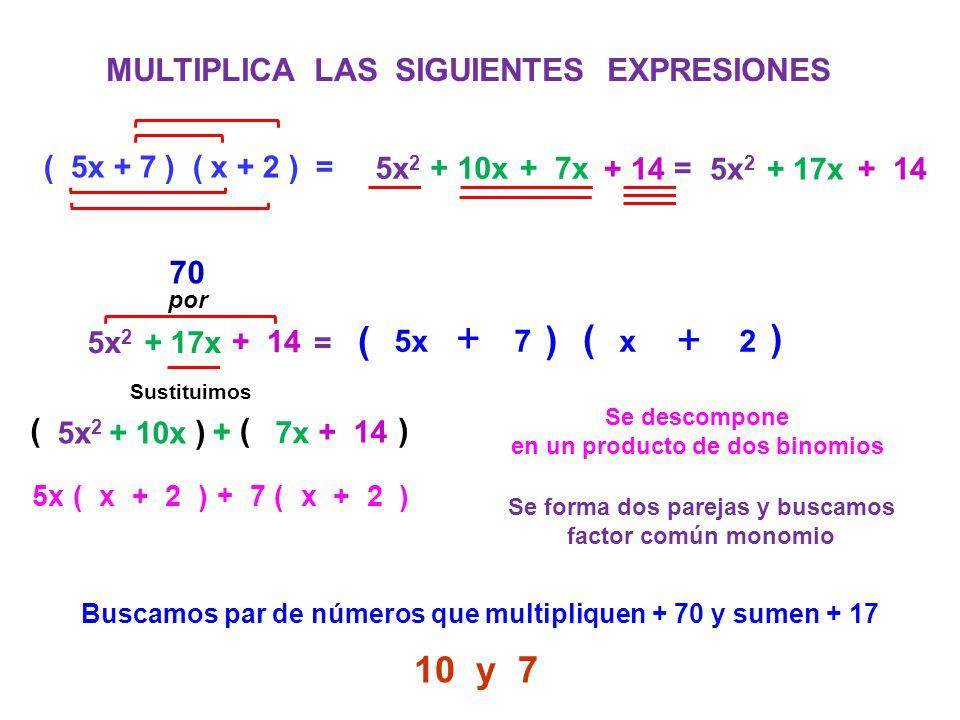 + + + + ( ) ( ) 10 y 7 MULTIPLICA LAS SIGUIENTES EXPRESIONES 70 ( ) (