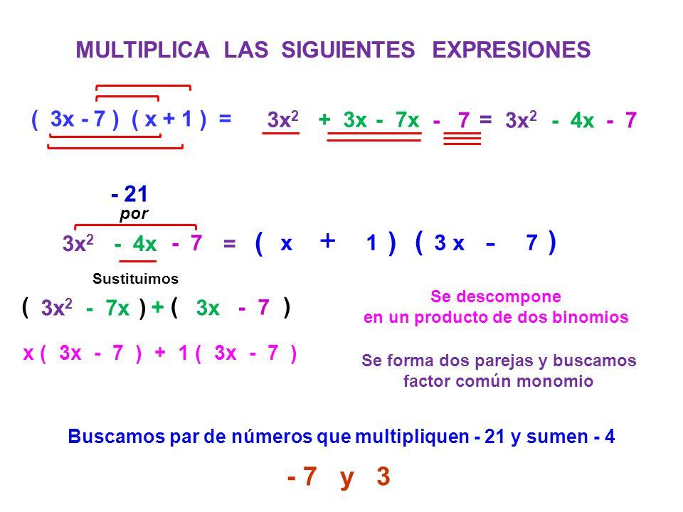 + + - + ( ) ( ) - 7 y 3 MULTIPLICA LAS SIGUIENTES EXPRESIONES - 21 ( )