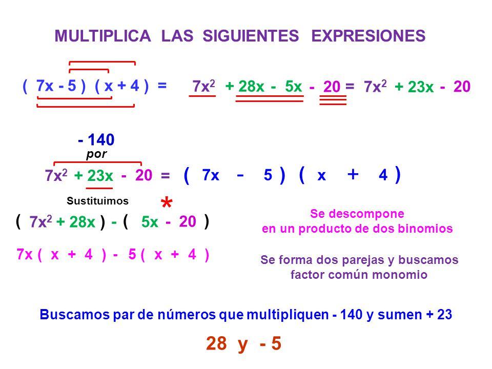 * - - + - ( ) ( ) 28 y - 5 MULTIPLICA LAS SIGUIENTES EXPRESIONES - 140