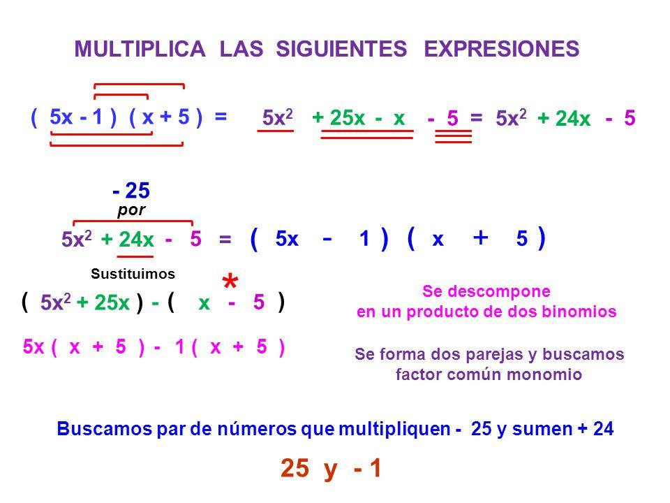 * - - + - ( ) ( ) 25 y - 1 MULTIPLICA LAS SIGUIENTES EXPRESIONES - 25