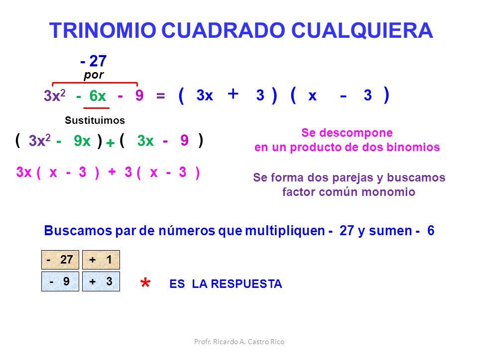 * + TRINOMIO CUADRADO CUALQUIERA + - + ( ) ( ) - 27 ( ) ( ) 3x2 - 6x