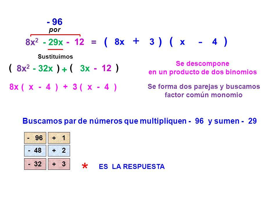 * + + - + ( ) ( ) - 96 ( ) ( ) 8x2 - 29x - 12 = 8x 3 x 4 8x2 - 32x 3x