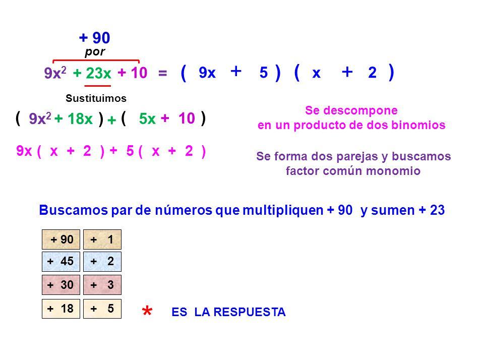 * + + + + ( ) ( ) + 90 ( ) ( ) 9x2 + 23x + 10 = 9x 5 x 2 9x2 + 18x 5x