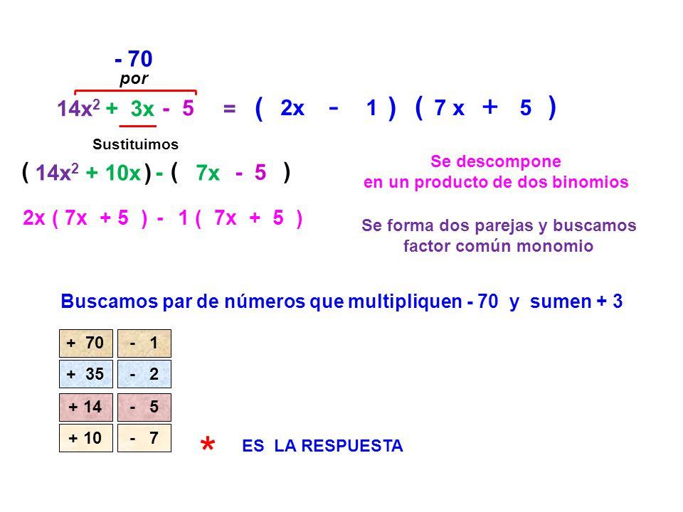 * - - + - ( ) ( ) - 70 ( ) ( ) 14x2 + 3x - 5 = 2x 1 7 x 5 14x2 + 10x