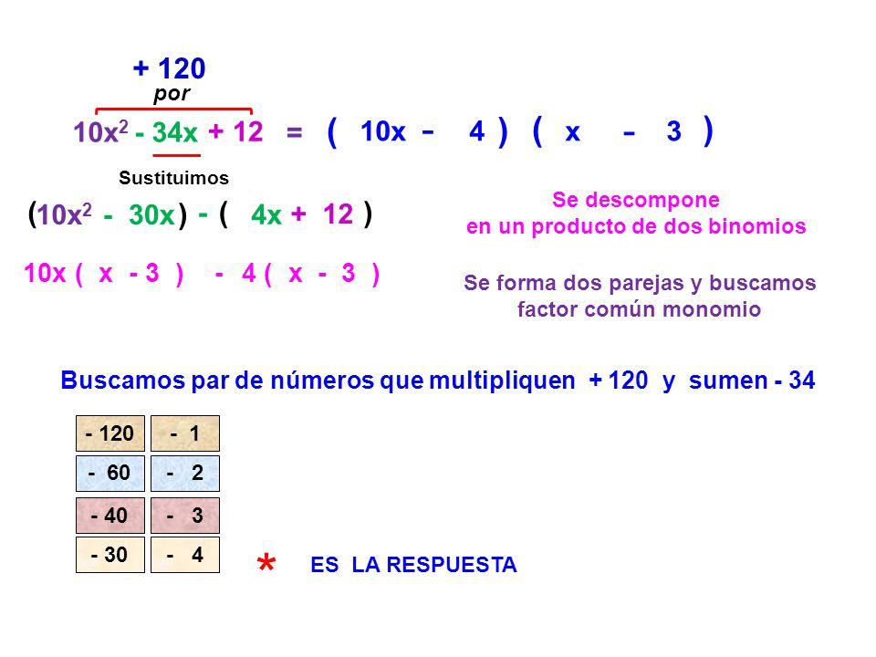 * - - - - ( ) ( ) + 120 ( ) ( ) 10x2 - 34x + 12 = 10x 4 x 3 10x2 - 30x