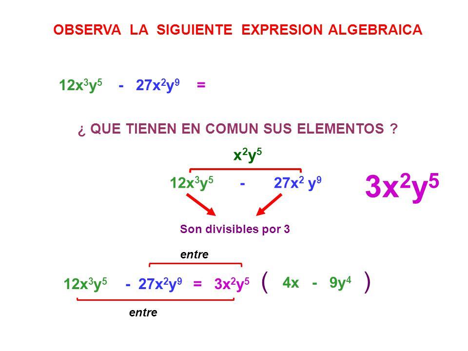 3x2y5 ( ) x2y5 12x3y5 - 27x2y9 = 12x3y5 - 27x2 y9 12x3y5 - 27x2y9 =