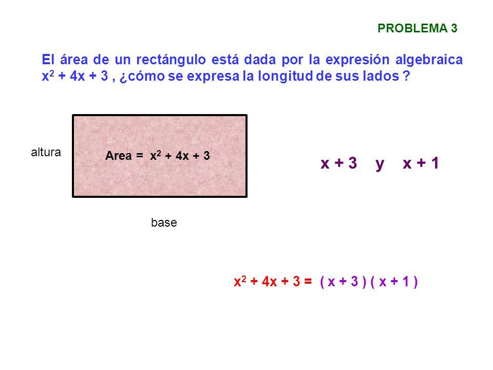 PROBLEMA 3 El área de un rectángulo está dada por la expresión algebraica x2 + 4x + 3 , ¿cómo se expresa la longitud de sus lados