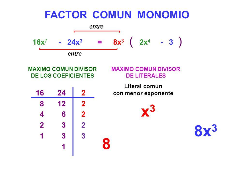 x3 8x3 8 ( ) FACTOR COMUN MONOMIO 16x7 - 24x3 = 8x3 2x4 - 3 16 24 2 8