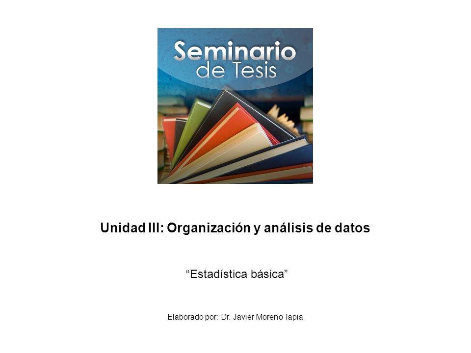 Unidad III: Organización y análisis de datos